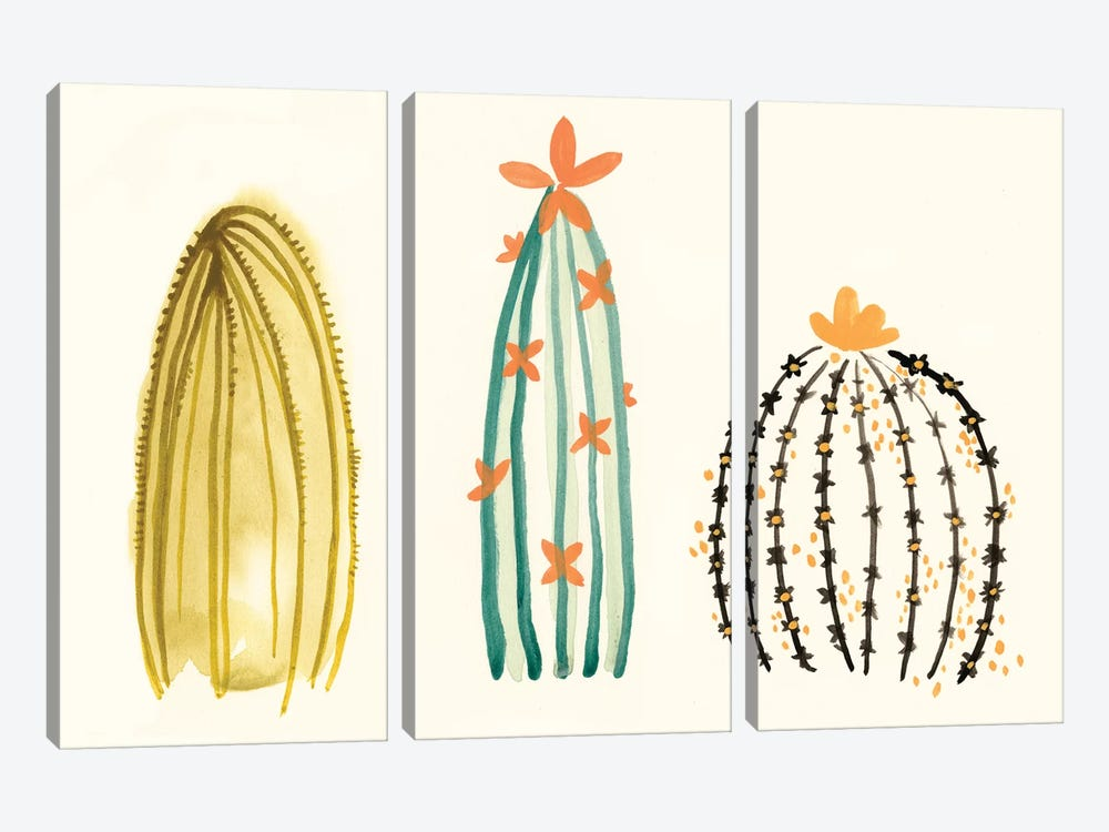 Funky Succulents II by June Erica Vess 3-piece Canvas Print