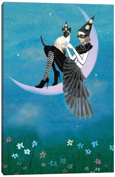 A Moon Cat Canvas Art Print