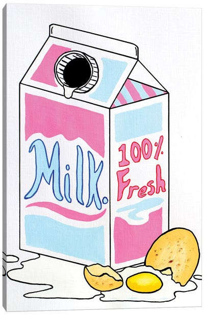 Retro Milk Carton With Egg Canvas Art Print