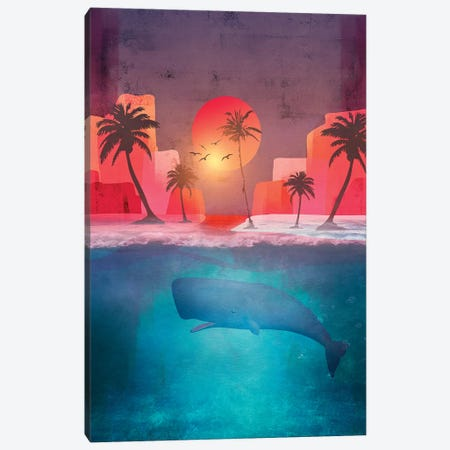 Tropical Island And The Whale Canvas Print #VGO111} by Viviana Gonzalez Art Print
