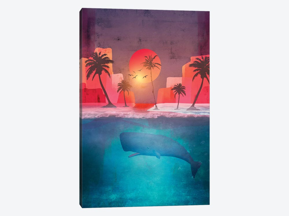 Tropical Island And The Whale by Viviana Gonzalez 1-piece Canvas Art Print