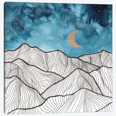 Indigo & Gold Landscape XI 3-Piece Canvas #VGO116} by Viviana Gonzalez Canvas Art