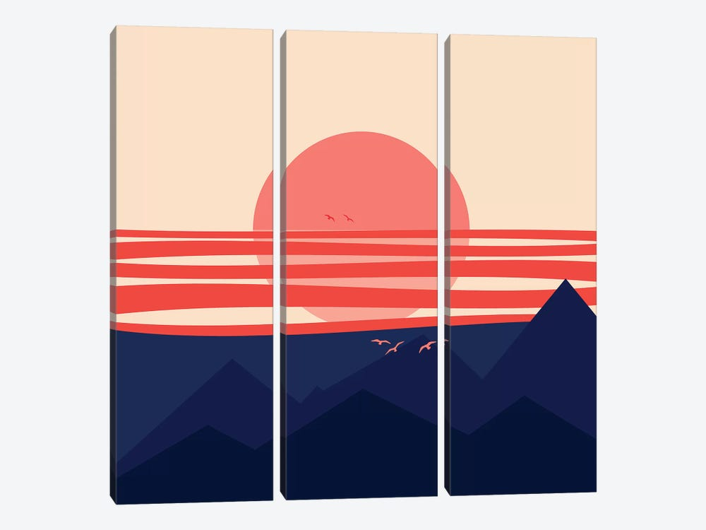 Minimal Sunset IV by Viviana Gonzalez 3-piece Canvas Print