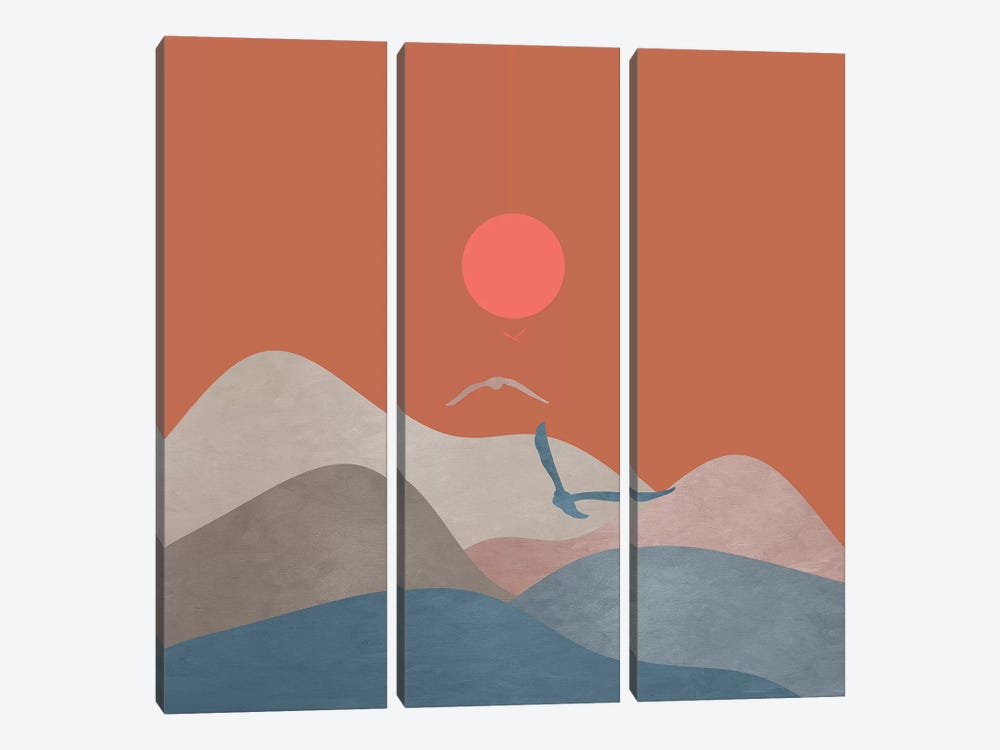 Minimal Sunset XIII by Viviana Gonzalez 3-piece Canvas Art Print