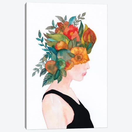 Woman In Flowers, Watercolor 3-Piece Canvas #VGO134} by Viviana Gonzalez Canvas Wall Art