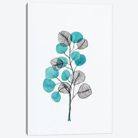 Watercolor + Ink Leaves Canvas Print #VGO139} by Viviana Gonzalez Art Print