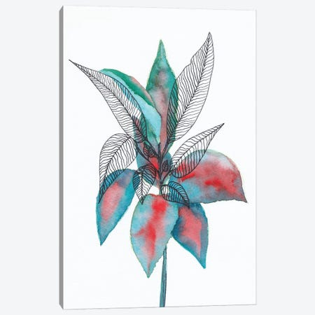 Watercolor + Ink Leaves Vi Canvas Print #VGO143} by Viviana Gonzalez Canvas Artwork