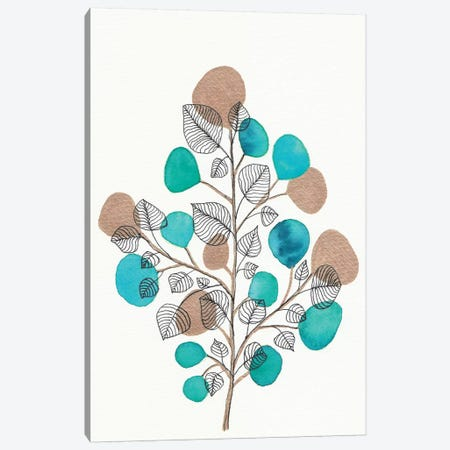 Watercolor + Ink Leaves Vii Canvas Print #VGO144} by Viviana Gonzalez Art Print