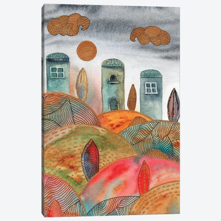 Watercolor Landscape & Line Art II 3-Piece Canvas #VGO151} by Viviana Gonzalez Canvas Print