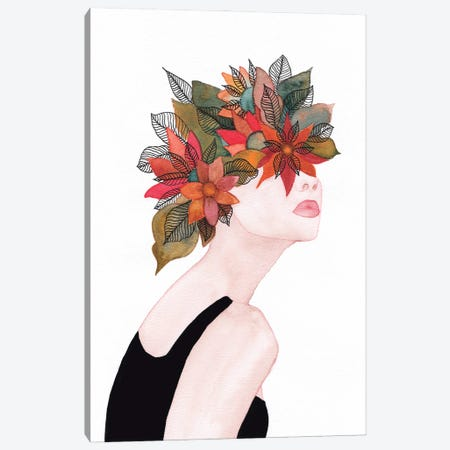 Woman In Flowers, Watercolor II Canvas Print #VGO156} by Viviana Gonzalez Canvas Art