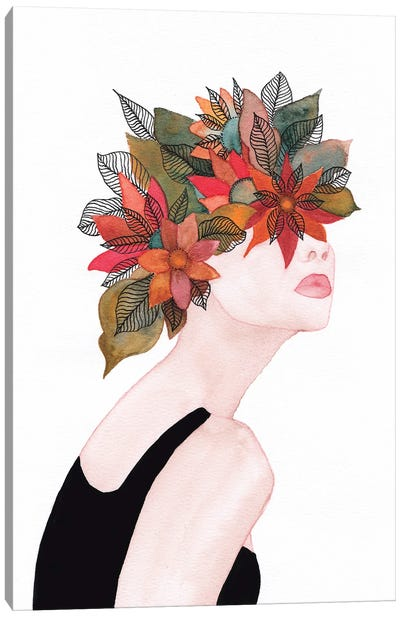 Woman In Flowers, Watercolor II Canvas Art Print