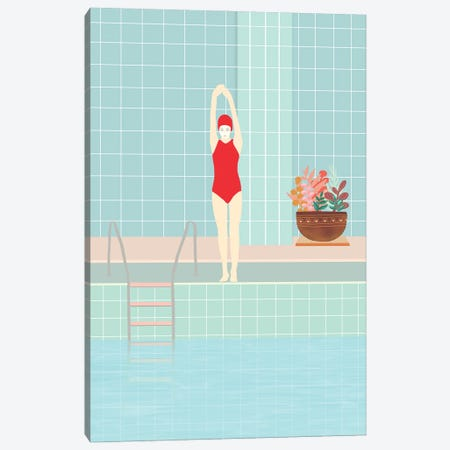 Girl With Red Swimsuit Canvas Print #VGO157} by Viviana Gonzalez Canvas Artwork