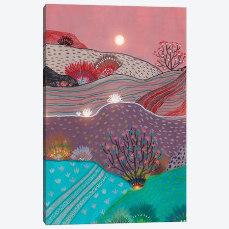 Boho Hills And Full Moon Canvas Print #VGO210} by Viviana Gonzalez Canvas Artwork