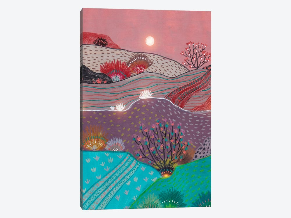 Boho Hills And Full Moon by Viviana Gonzalez 1-piece Canvas Wall Art