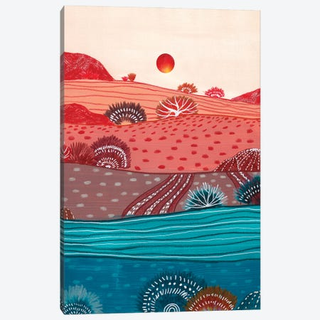 Boho Hills And Red Sun Canvas Print #VGO211} by Viviana Gonzalez Canvas Artwork