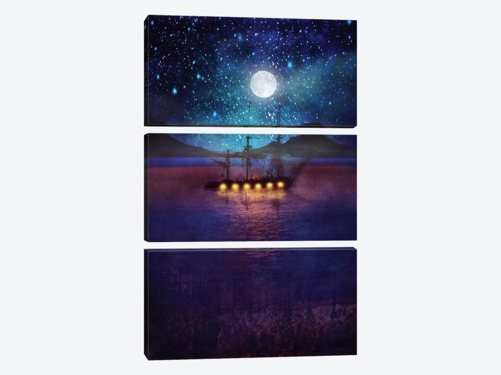 The Lights And The Silent Water by Viviana Gonzalez 3-piece Canvas Art Print