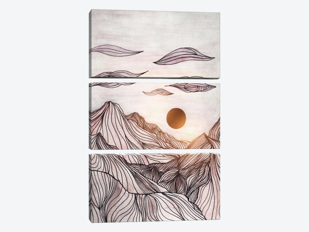 Lines In The Mountains I by Viviana Gonzalez 3-piece Canvas Art Print