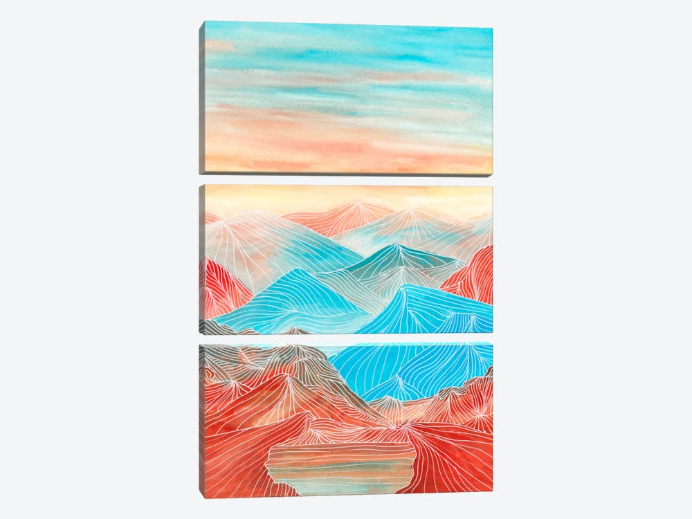Lines In The Mountains XX by Viviana Gonzalez 3-piece Canvas Art