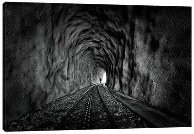 In The Bowels Of The Mountain In Black And White Canvas Art Print