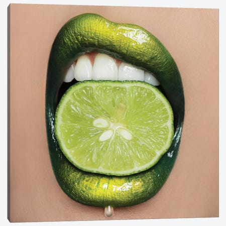 Lime Lips Canvas Print #VHA13} by Vlada Haggerty Canvas Art