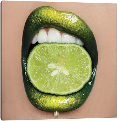 Lime Lips Canvas Art Print