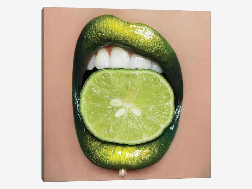 Lime Lips by Vlada Haggerty 1-piece Canvas Art Print