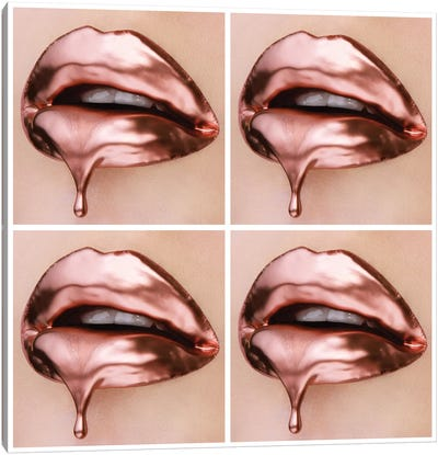 Rose Gold Drips Canvas Art Print