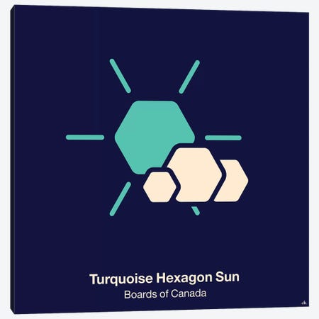 Turquoise Hexagon Sun Canvas Print #VHE103} by Viktor Hertz Art Print