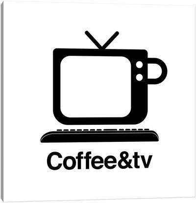 Coffee And Tv In Black And White Canvas Art Print