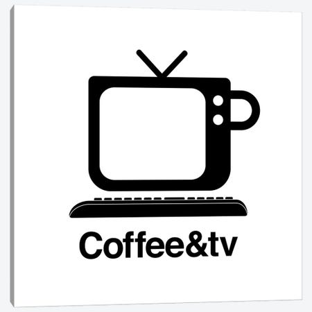 Coffee And Tv In Black And White Canvas Print #VHE155} by Viktor Hertz Canvas Art Print