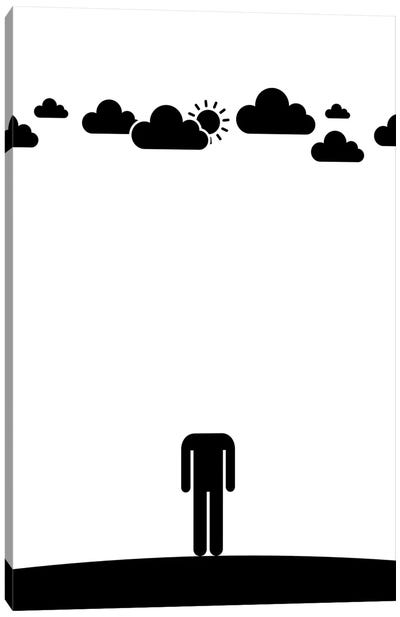Head In The Clouds In Black And White Canvas Art Print
