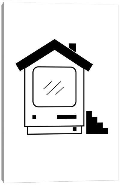 Home Computer In Black And White Canvas Art Print
