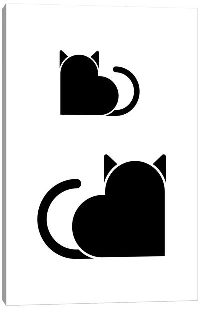 Love Cats In Black And White Canvas Art Print