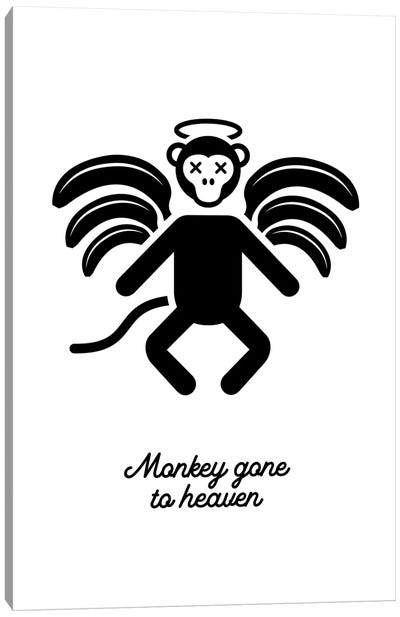 Monkey Gone To Heaven In Black And White Canvas Art Print