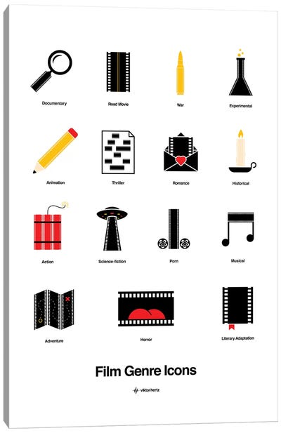 Film Genre Icons Canvas Art Print