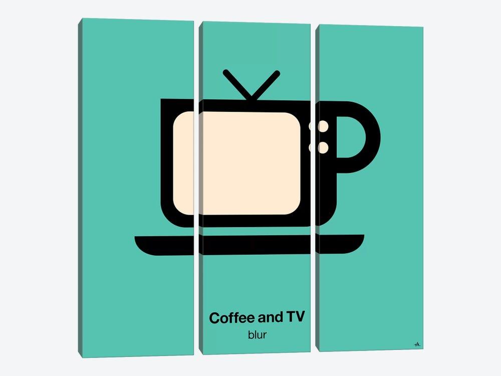 Coffee And Tv by Viktor Hertz 3-piece Canvas Print