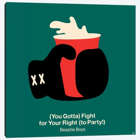 Fight For Your Right To Party Canvas Print #VHE44} by Viktor Hertz Canvas Wall Art