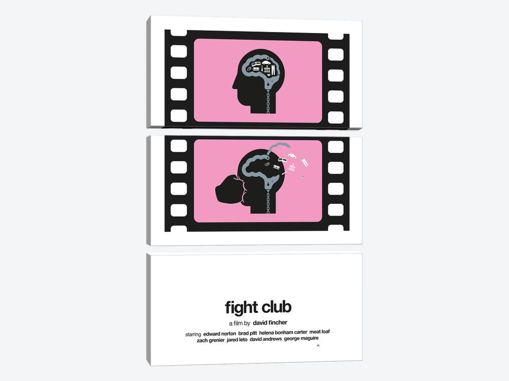 Fight Club by Viktor Hertz 3-piece Canvas Art