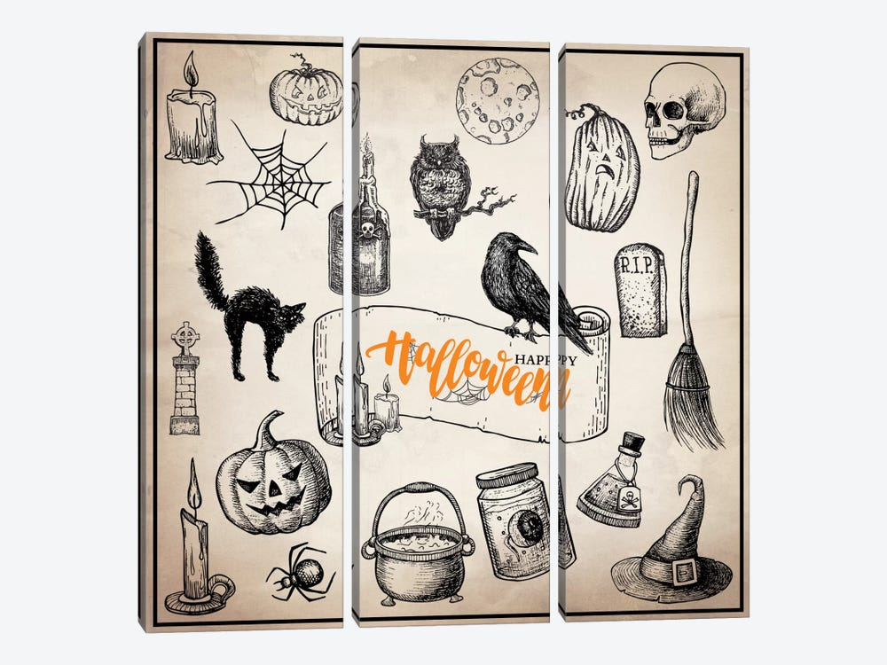 Halloween Trove by 5by5collective 3-piece Art Print