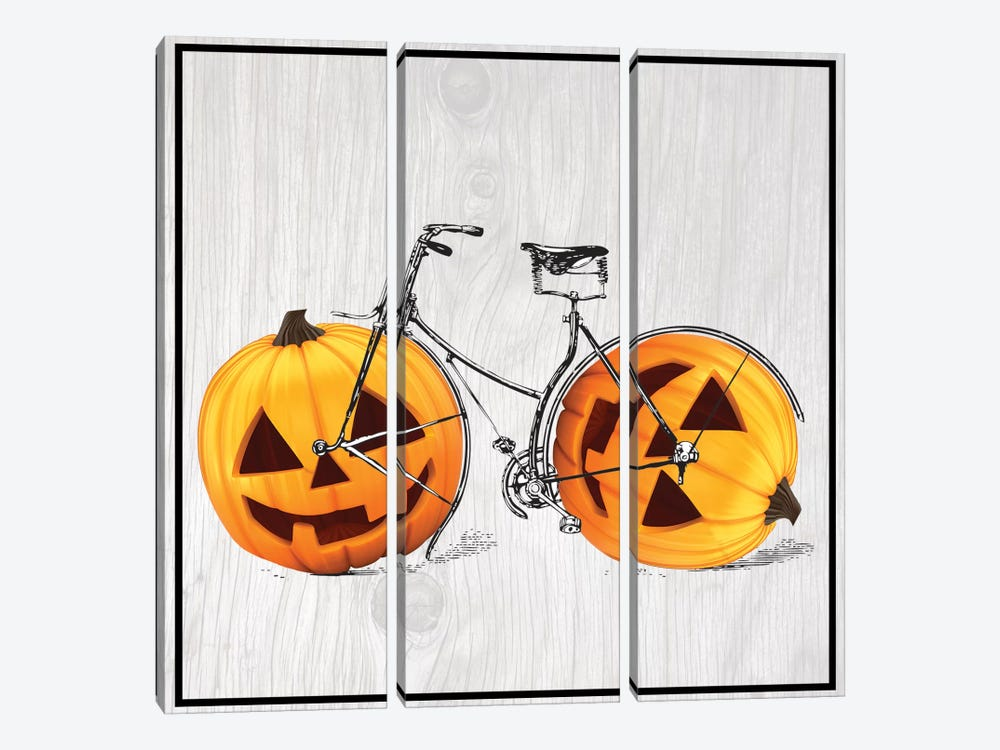 Pumpkin Bicycle by 5by5collective 3-piece Canvas Art Print