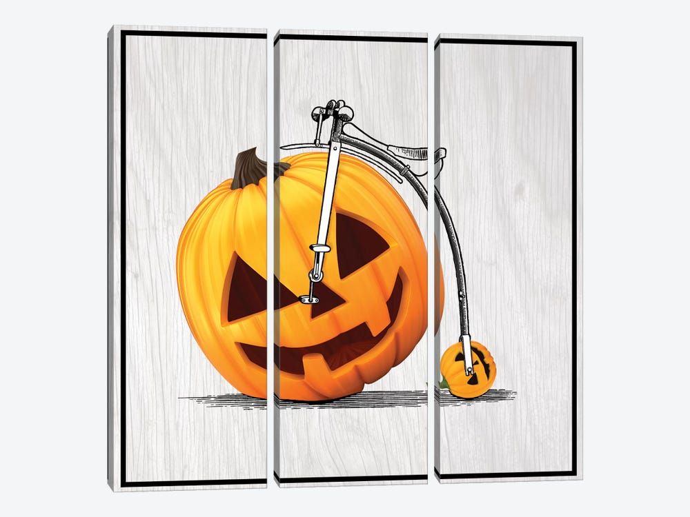 Pumpkin Penny Farthing by 5by5collective 3-piece Canvas Print