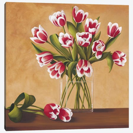 Tulipes dans un vase Canvas Print #VHU8} by Virginia Huntington Canvas Art