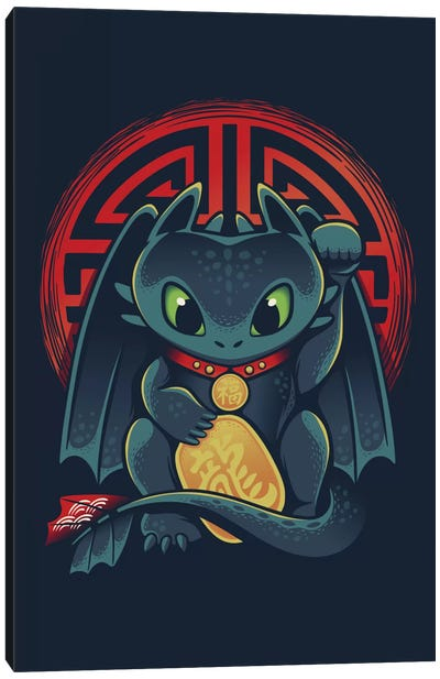 Maneki Dragon Canvas Art Print