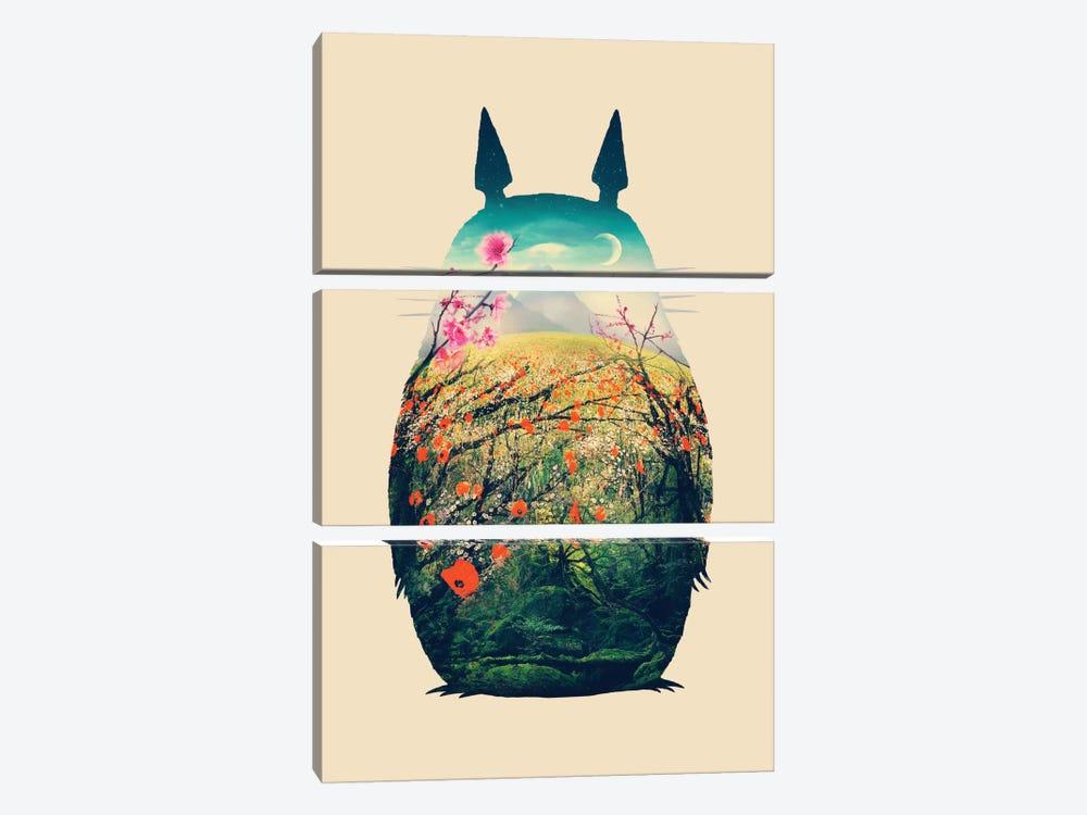 Tonari No Totoro by Victor Vercesi 3-piece Canvas Wall Art