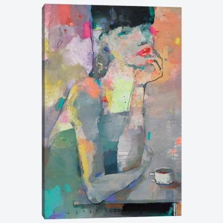 She just loves coffee Canvas Print #VIK54} by Viktor Sheleg Canvas Art