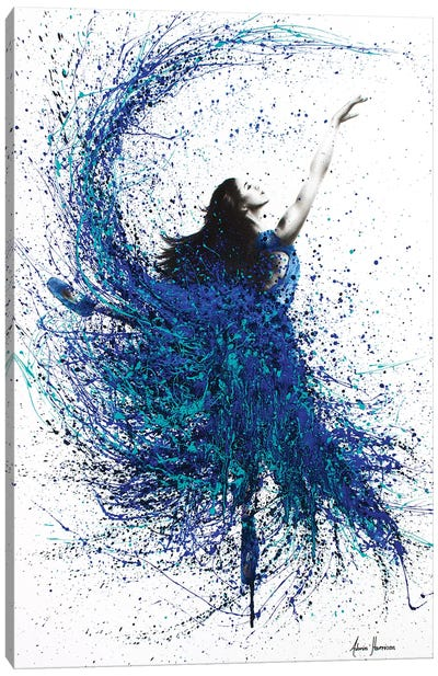 Teal Wave Dance Canvas Art Print