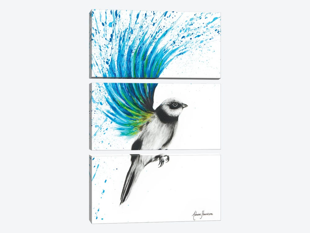 Turquoise Finch 3-piece Canvas Art Print