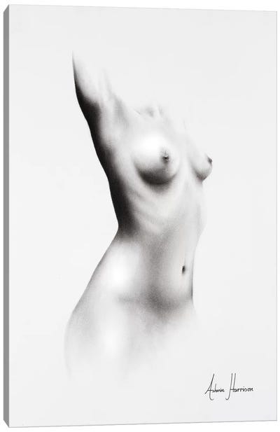 Nude Woman Charcoal Study 64 Canvas Art Print