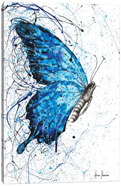 Blue Butterfly Rains Canvas Art Print