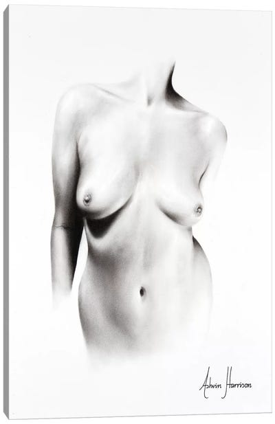Nude Woman Charcoal Study 66 Canvas Art Print